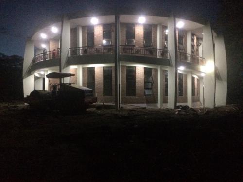 Drum building at night